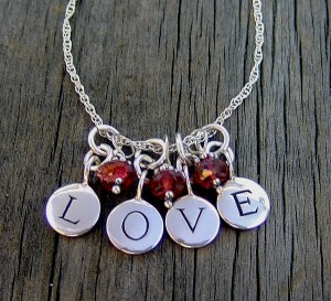 Love Message with Garnets