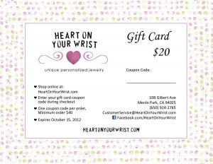 Free Gift Card for H and  Stamped Jewelry