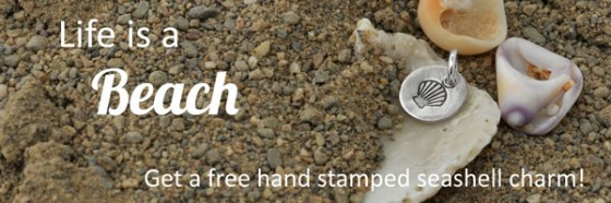 Free H and  Stamped Sea Shell Charm