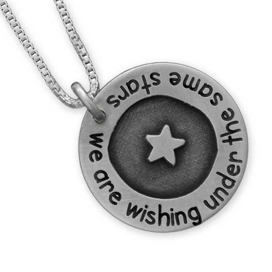 Etched  and  h and  stamped star pendant