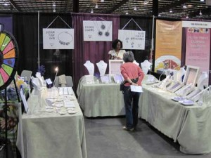 Hand stamped jewelry booth at the expo