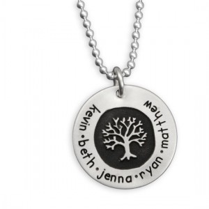H and  stamped tree of life necklace