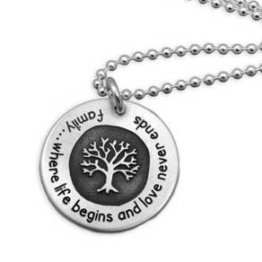 H and  stamped family tree necklace