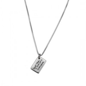 H and  stamped h and writing necklace