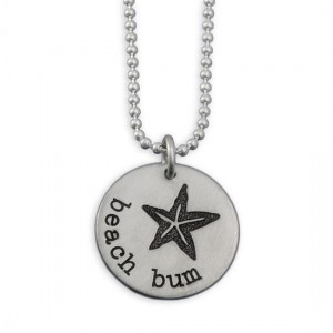 H and  stamped pewter beach bum necklace