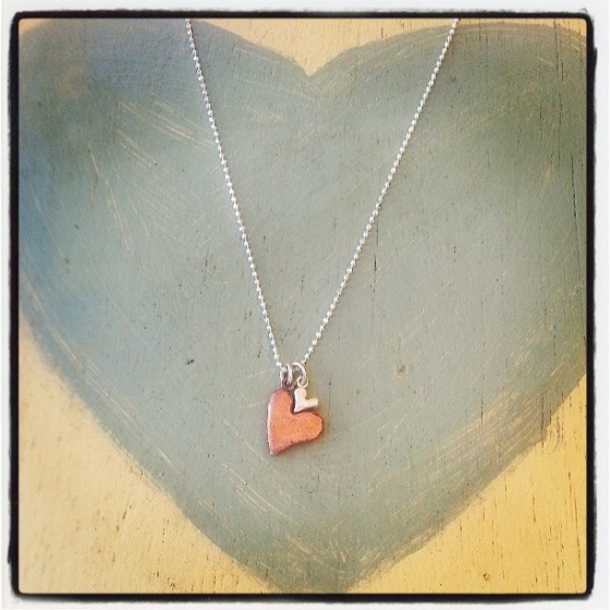 Chunky Resting Hearts Necklace