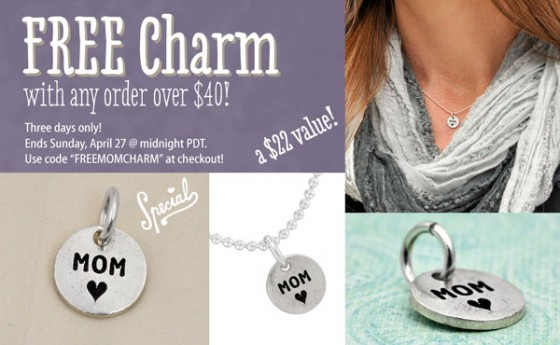 Free h and  stamped charm with your order