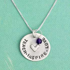 h and  stamped teacher necklace