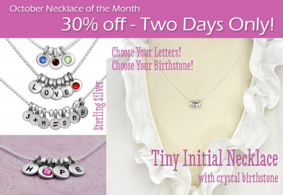 October h and  stamped necklace of the month