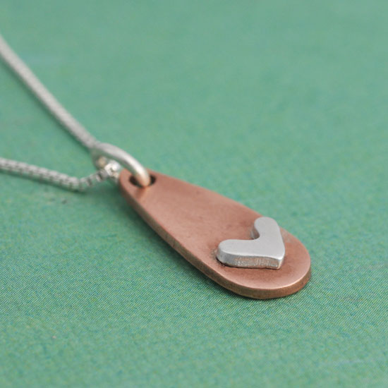 H and  stamped copper charm necklace