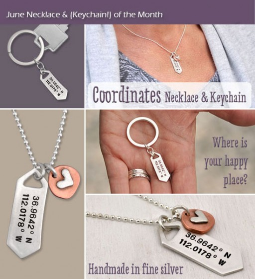 H and  stamped coordinates necklace